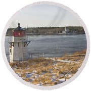 Squirrel Point Lighthouse Kennebec River Maine Round Beach Towel by Keith Webber Jr