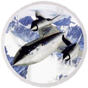 Sr-71 Over Snow Capped Mountains Round Beach Towel