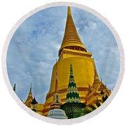 Sri Lanka Pagoda At Grand Palace Of Thailand In Bangkok Round Beach Towel