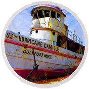 Ss Hurricane Camille Tugboat Round Beach Towel