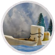 Ss More Round Beach Towel by Heather Applegate