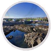 St Abbs Scotland Round Beach Towel