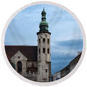 St. Andrew's Church In Krakow At Dusk Round Beach Towel