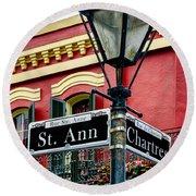 St. Ann And Chartres Nola  Round Beach Towel