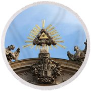 St Anne's Church In Budapest Architectural Details Round Beach Towel