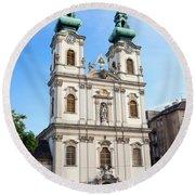 St Anne's Church In Budapest Round Beach Towel