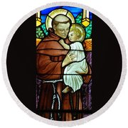 St Anthony In Stained Glass Round Beach Towel