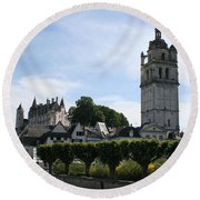 St. Antoine Tower And The Chateau De Loches Round Beach Towel