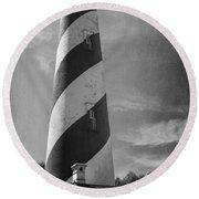 St Augustine Lighthouse Bw Round Beach Towel