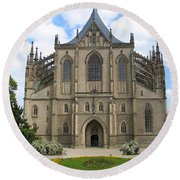 St Barbaras Cathedral Kutna Hora Czech Republic Round Beach Towel