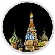 St. Basil's Cathedral At Night Round Beach Towel