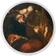 St. Benedict And A Hermit Round Beach Towel