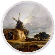St Benets Abbey And Mill, Norfolk, 1833 Round Beach Towel