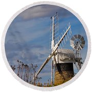 St Benets Drainage Mill Norfolk Round Beach Towel