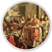 St. Bernard Of Clairvaux 1090-1153 And William X 1099-1137 Duke Of Aquitaine Oil On Canvas Round Beach Towel