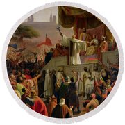 St Bernard Preaching The Second Crusade In Vezelay Round Beach Towel