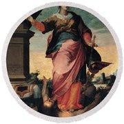 St Catherine Of Alexandria, 1570 - 1611 Round Beach Towel