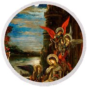 St Cecilia The Angels Announcing Her Coming Martyrdom Round Beach Towel