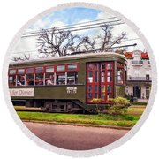 St. Charles Ave. Streetcar 2 Round Beach Towel