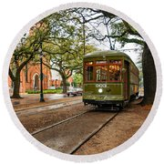 St. Charles Ave. Streetcar In New Orleans Round Beach Towel