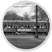 St. Charles Ave. Streetcar Monochrome Round Beach Towel