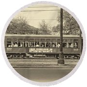 St. Charles Ave. Streetcar Sepia Round Beach Towel