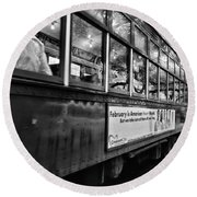St. Charles Ave Streetcar Whizzes By-black And White Round Beach Towel