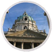 St Charles Church Vienna Austria Round Beach Towel