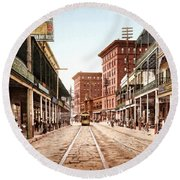 St Charles Street New Orleans 1900 Round Beach Towel by Unknown