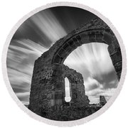 St Dwynwen's Church Round Beach Towel by Dave Bowman