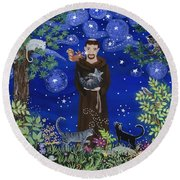 St. Francis And Spike Round Beach Towel