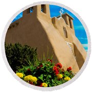 St Francis D'asis Mission Church. Taos New Mexico Round Beach Towel