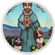 St. Francis Libertys Blessing Round Beach Towel by Victoria De Almeida