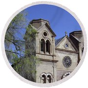 St. Francis Of Assisi Church Round Beach Towel