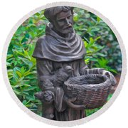 St Francis Of Assisi Garden Statute Round Beach Towel