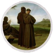 Saint Francis Of Assisi, While Being Carried To His Final Resting Place At Saint-marie-des-anges Round Beach Towel