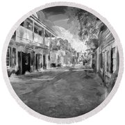 St George Street St Augustine Florida Painted Bw Round Beach Towel