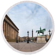 St Georges Hall, Liverpool, Merseyside Round Beach Towel