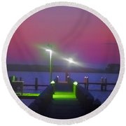 St. Georges Island Dock - Just Before Sunrise Round Beach Towel