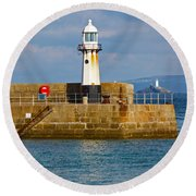 St Ives And Godrevy Lighthouses Cornwall Round Beach Towel