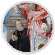 St. Jerome And A Donor Round Beach Towel