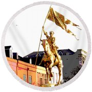 St Joan Of Arc Statue At Dawn Round Beach Towel
