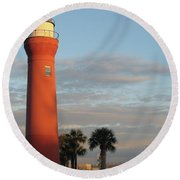 St. Johns River Lighthouse II Round Beach Towel