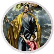 Saint Joseph And The Christ Child Round Beach Towel