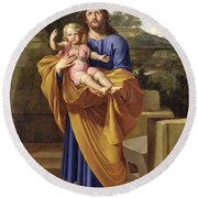 St. Joseph Carrying The Infant Jesus Round Beach Towel