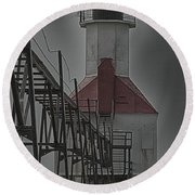 St. Joseph North Pier Lighthouse Lake Michigan Round Beach Towel