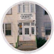 St. Joseph's Hospital Fairbanks Alaska The Chena River 1969 Round Beach Towel