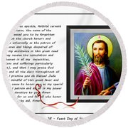 St. Jude Patron Of Hopeless Cases - Prayer - Petition Round Beach Towel by Barbara Griffin