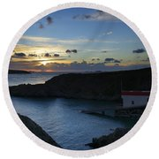 St Justinian Sunset Round Beach Towel