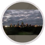 St. Louis Arch At Dusk From The Train Round Beach Towel